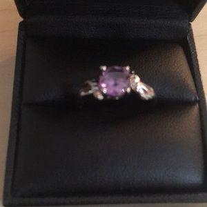 Jewelry - Purple stone ring w/CZ sz 7 NWOT